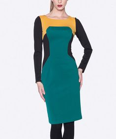 Look at this #zulilyfind! Saffron & Dark Green Color Block Dress #zulilyfinds