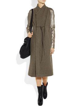 RICK OWENS  Naska metallic leather-trimmed wool-felt coat