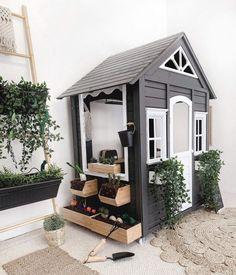 Kids Cubby Houses, Kids Cubbies, Play Houses, Backyard Playground, Backyard For Kids, Backyard Bbq, Kids House Garden, Garden Beds, Modern Kids Toys
