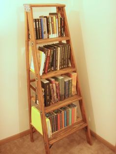 DIY - Old ladder into bookshelf; materials list & step-by-step instructions.  #shelf #storage #furniture