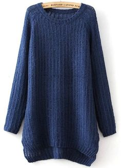 Shop Navy Long Sleeve Split Knit Sweater online. Sheinside offers Navy Long Sleeve Split Knit Sweater & more to fit your fashionable needs. Free Shipping Worldwide!