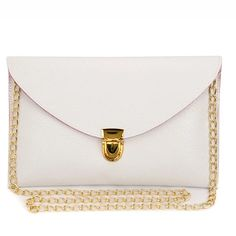 Envelope Purse White clutch with gold latch and gold chain strap. Perfect for a night of dancing or a morning on the town! Mossimo Supply Co Bags Clutches & Wristlets Shoulder Strap Bag, Small Shoulder Bag, Metal Chain, Purses And Handbags, Leather Handbags, Handbag Stores, White Handbag, White Clutch, Gold