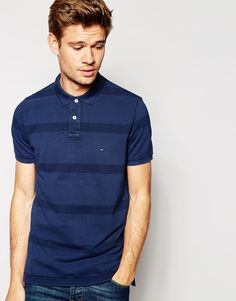 Image 1 ofTommy Hilfiger Polo with Overdyed Stripe
