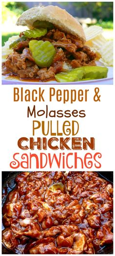 A great barbecue taste that's made right in the kitchen. These BLACK PEPPER and MOLASSES PULLED CHICKEN SANDWICHES have an undeniable smoky and sweetness you are going to love from NoblePig.com.