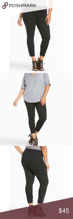 Polka-Dot jeggings These black wash jeggings get a touch of retro rockabilly flavor with a grey polka dot print. The shorter cut gives your fave shoes some airtime, while the zippered ankles lend some edge. The slimming three-button higher rise waist holds you in and lifts you up, complementing your rearview.  New with tags. torrid Jeans Skinny