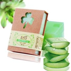 100g Pure Natural Herbal Plant Aloe Vera Gel Handmade Moisturizing Essential Oil Soap. Free Shipping