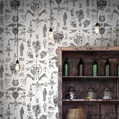 Tattoo Flash 01 Wallpaper by Liam Sparkes Pop Art Wallpaper, Original Wallpaper, Designer Wallpaper, Contemporary Wallpaper, Contemporary Artists, Sparkly Walls, Wall Exterior, Minimalist Wallpaper, Elle Decor