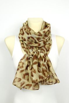 Leopard Print Scarf - Brown Printed Scarf - Leopard Fabric Scarf - Animal Print Scarf - Women Fashion Accessories - Gift Idea for her