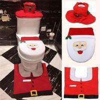 2016 Merry Christmas Decorations Snowman Toilet Seat Cover and Rug Bathroom Set Contour Rug Kerst Adornos de Navidad Para Casa