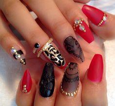 Rojo y negro matte