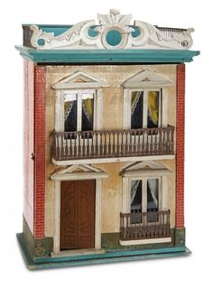 Home At Last - Antique Doll and Dollhouses: 215 Wonderful Diminutive German Wooden Dollhouse with Metal Railings