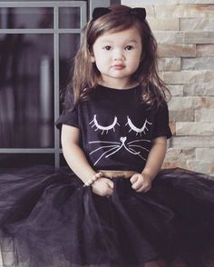 Our hand-drawn kitty has long lashes and purrrs. This soft, cotton kids t-shirt looks great with anything.jeans, tights, khakis and shorts alike. Cat Costume Kids, Kids Costumes Girls, Cat Costumes, Kids Outfits, Kitten Party, Cat Party, Cat Birthday, Birthday Tutu, Cat Themed Parties