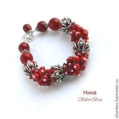 Купить Браслет Красные Кораллы БОХО Ручная работа - подарок девушке, красный браслет