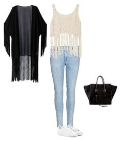 """""""#coolforthesummer"""" by sharon-akintunde-oladunjoye ❤ liked on Polyvore featuring beauty, 7 For All Mankind, WithChic, adidas and CÉLINE"""
