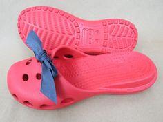 CROCS Red Shoes Sandals Slides w/ Blue Decorative Bow/Ribbon VERY NICE Women's 6 #Crocs #Slides