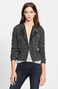The Kooples Leather Trim Tweed Moto Jacket available at #Nordstrom
