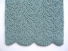"""Ravelry: Three Almond Scarves pattern by Dagmar Mora.   I wonder if this could be adapted for socks? Four """"almonds wide"""" in the round might work if it's as stretchy as everyone says. Or perhaps, if too narrow, for mitts.  Such a lovely pattern!!"""