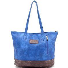 ZMSnow Designer PU Leather Tote Handbag Shoulder Mix Color Bag for Women  Girl Work School 70490efece