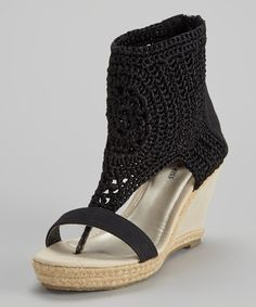 Take a look at this French Kiss Black Crocheted Gladiator Wedge on zulily today!