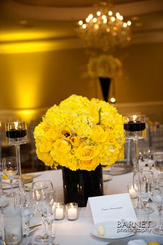 Black and yellow reception wedding flowers,  wedding decor, wedding flower centerpiece, wedding flower arrangement, add pic source on comment and we will update it. www.myfloweraffair.com can create this beautiful wedding flower look.