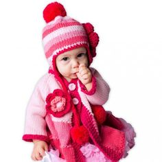 Huggalugs Pink Ombre Stripe Girls Beanie Hat with Flower Girl Beanie, Beanie Hats, Baby Gift Sets, Baby Gifts, Ombre Sweater, Knitted Coat, Baby Sweaters, Caps Hats, Fashion Photo