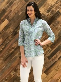 The Eloise Cotton Print Top in Green and indigo - Liza Byrd Boutique