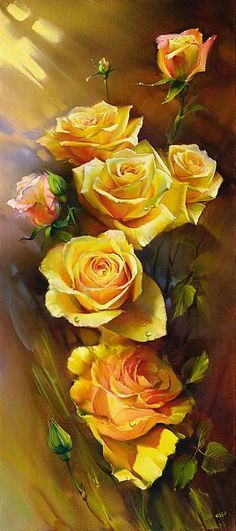 Yellow Roses by Roman Romanov - Yellow Roses Painting - Yellow Roses Fine Art Prints and Posters for Sale Arte Floral, Beautiful Rose Flowers, Exotic Flowers, Purple Flowers, Rose Art, Yellow Roses, Pink Roses, Tea Roses, Beautiful Paintings