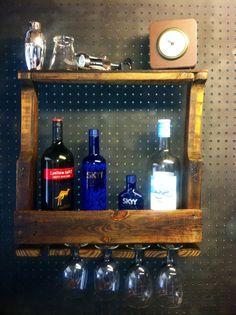 Reclaimed wood wine shelf