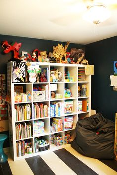 expedit full of children's books and toys