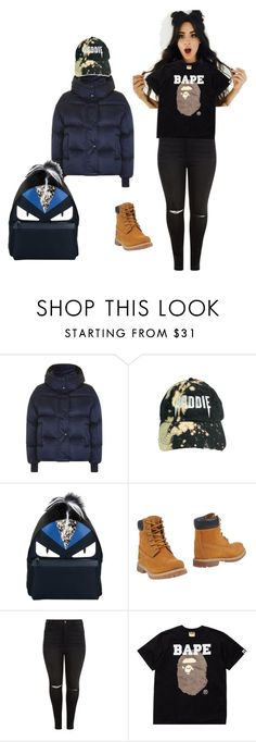 """""""Give chills"""" by stevenson-algeria ❤ liked on Polyvore featuring Topshop, Fendi, Timberland, New Look and A BATHING APE"""