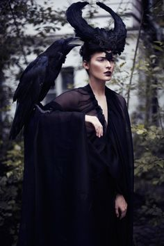 by Lelya #Martian   #black #horned #headdress   #victorian #goth #gothic #black #womens #fashion #style