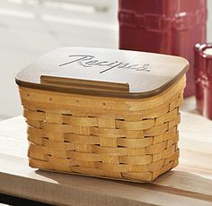Give a kid or couple just starting out a basket filled with their favorite home cooked meals. / Large Recipe Basket w/Engraved WoodCrafts Lid-62906SET