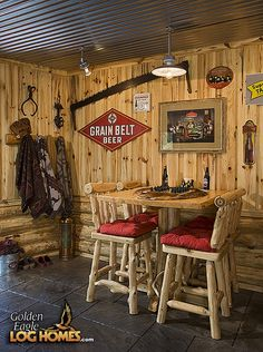 How rustic! Perfect for our log home basement, especially the tin ceiling.