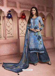 Blue Printed Pure Cotton Designer Palazzo Suit Palazzo Pants Indian, Palazzo With Kurti, Palazzo Suit, Pakistan Fashion, India Fashion, Woman Fashion, Pakistani Dress Design, Pakistani Dresses, Kurtha Designs