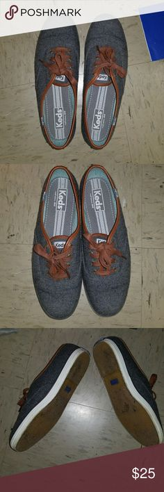 Wool Grey Champion Keds without box worn only once size 8 Keds Champion  grey wool with outline VERY CUTE Keds Shoes Sneakers