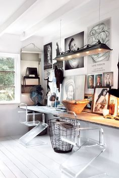 Study nook idea_ awesoem chair as a focus point. Love the transparent perspex in contrast to the natural wood
