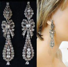 Earrings-Antique-Early-Georgian-Pendeloque-Ear-Pendants-in-Silver-Gold- Early 18th century