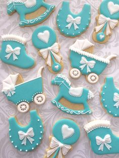 Teal and white Decorated Baby Cookies with bows and frills- One Dozen Decorated Sugar Cookies - Perfect for Baby Showers Baby Boy Cookies, Baby Shower Cookies, Cute Cookies, Heart Cookies, Valentine Cookies, Easter Cookies, Birthday Cookies, Christmas Cookies, Torta Baby Shower