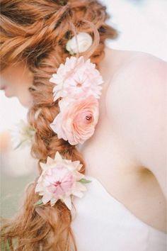 Bridal Hairstyles With Braids, Summer Wedding Hairstyles, Spring Hairstyles, Braided Hairstyle, Hairstyle Photos, Bridal Hairdo, Hairstyle Ideas, Wedding Hair Flowers, Flowers In Hair