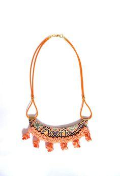 Orange tassel Pompom ethnic printed wood necklace by PROPSfashion