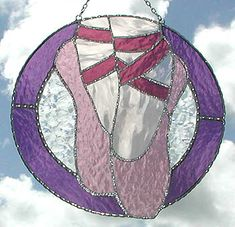 "Ballet Stained Glass Suncatcher - Pink Toe Shoes Glass Art Design - 8 1/2"" - $36.95  - Handcrafted Stained Glass Designs  * More at www.AccentOnGlass.com"