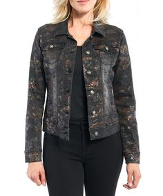 This Black & Copper Foil Denim Button-Up Jacket is perfect! #zulilyfinds