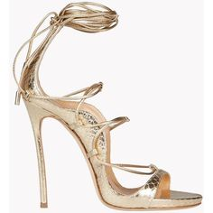 Dsquared2 High-heeled Sandals ($1,285) ❤ liked on Polyvore featuring shoes, sandals, gold, heeled sandals, wrap sandals, wrap shoes, dsquared2 and leather sole shoes