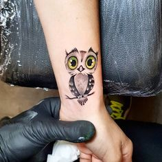 small & cute owl tattoo #Monocolor-White/Black