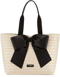 5ec9df979d Karl Lagerfeld Paris Kris Straw Tote Bag with Bow Karl Lagerfeld Purse,  Straw Tote,