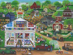 A Centennial Quilt & Sampler Show Folk Art Village by Cheryl Bartley