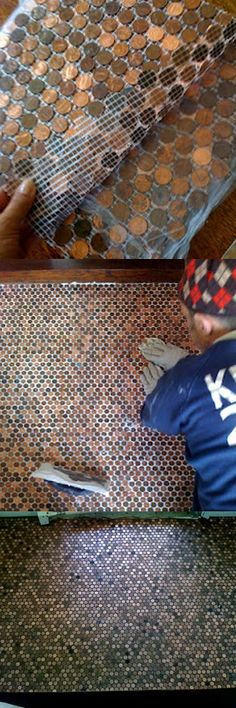 Tiles made out of pennies! Love this! I have so many pennies lying around and this is perfect. You can make a tile wall or combine with concrete to make stepping stones in garden. Check out the finished wall, amazing! (and cheap to make) Click the link to find out how to make...