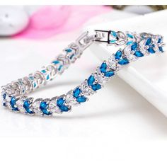 2016 New Full Cubic Zirconia Prong Shining Leaves Wedding Bracelet Clear