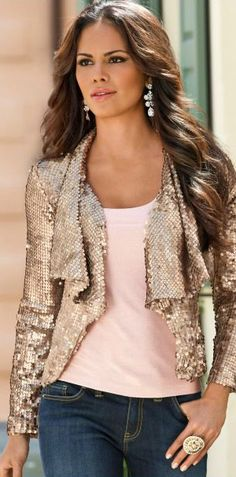Sequin Draped Jacket** love it but white tank and white jeans....or black tank, jeans and black stilettos :)..endless possibilities :)