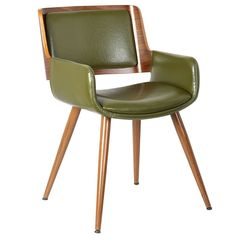 Porthos Home GRN Finnick Dining Chairs with Wooden Open Back, Solid Steel Legs with Poplar Wood Finish and Bi-cast Leather Upholstery with Pick Stitched Accent, One Size, Green